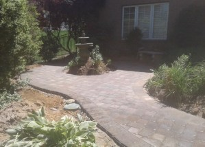 Paver Walkway with Water Feature