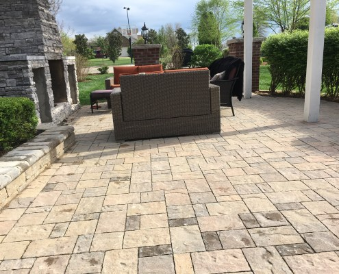 Paver Patio With custom Fire Pit and Retaining Wall