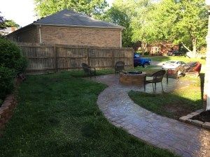 Paver Walkway that leads to Paver Patio with Fire Pit