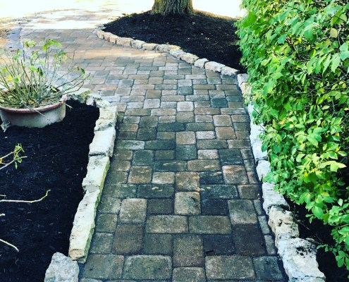 Paver walkway with Stone Border