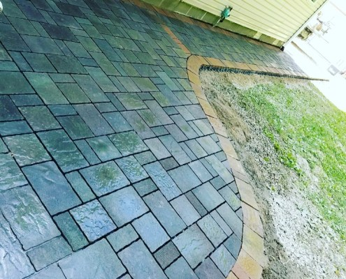 Paver Walkway and Paver Patio against house