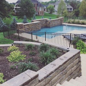 Pool with Stone Wall Border