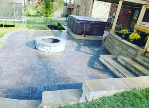Paver Patio and Stairs with Retaining wall and Fire Pit 2