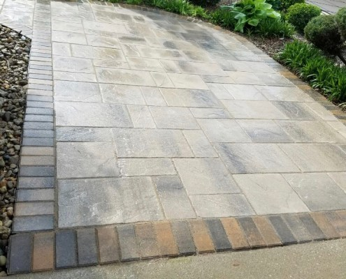 Paver Patio with Brick Border