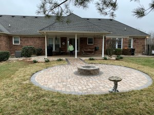 Circular Paver Fire Pit with back porch