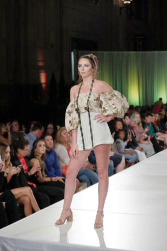 Emma Pound on the runway at KC Fashion Week.