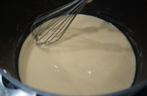 Stage two of the roux. The color has changed from pale white ot a sort of tan. I