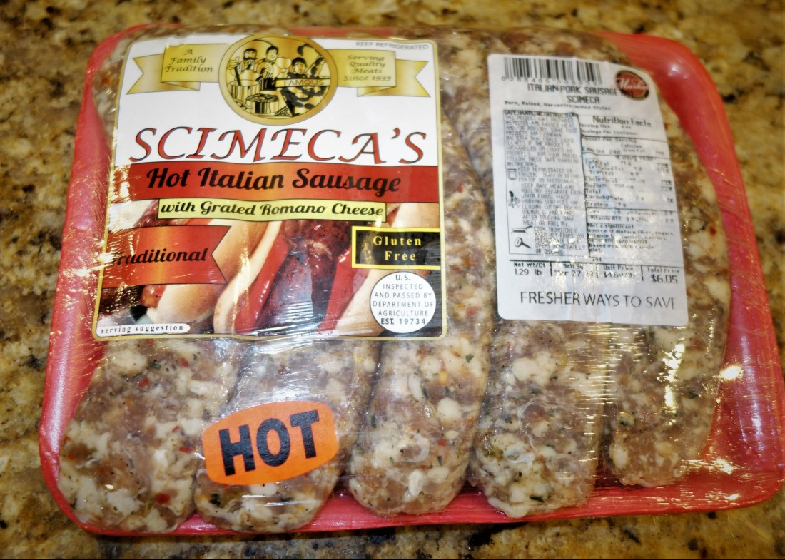 A picture fo one pound of scimeca's hot Italian sausage.