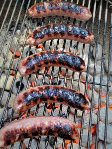 bratwurst on the grill