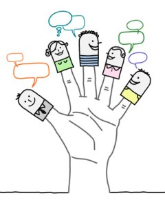 big hand and cartoon characters - social network