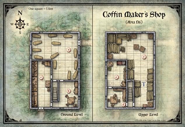 Mike Schley: Curse of Strahd &emdash; Curse of Strahd; Coffin Maker's Shop (Digital DM & Player Versions) $1.75