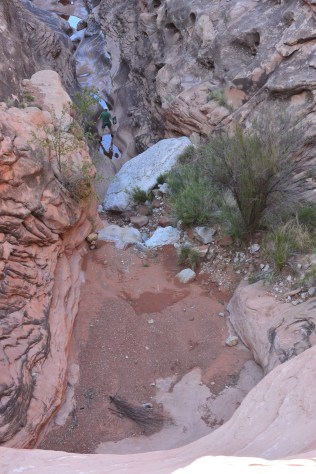 Bob rappelled down to some nice clear pools at the head of a Scotty's Hollow drainage for water