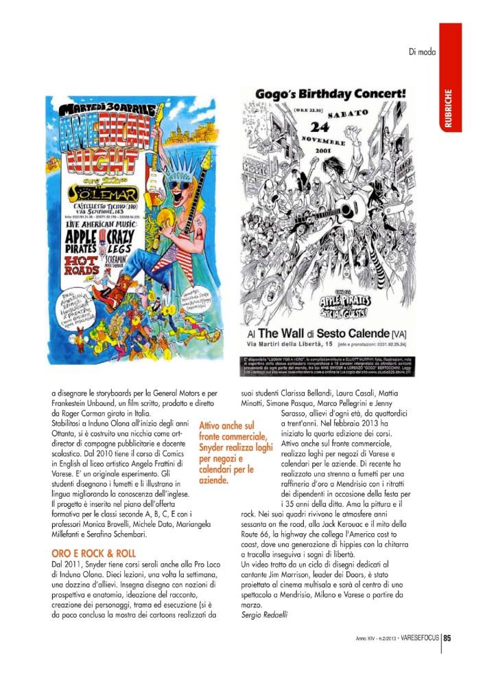 Mike Snyder; La matita animata, di Sergio Redaelli, per VareseFocus, marzo 2013 (4/4)