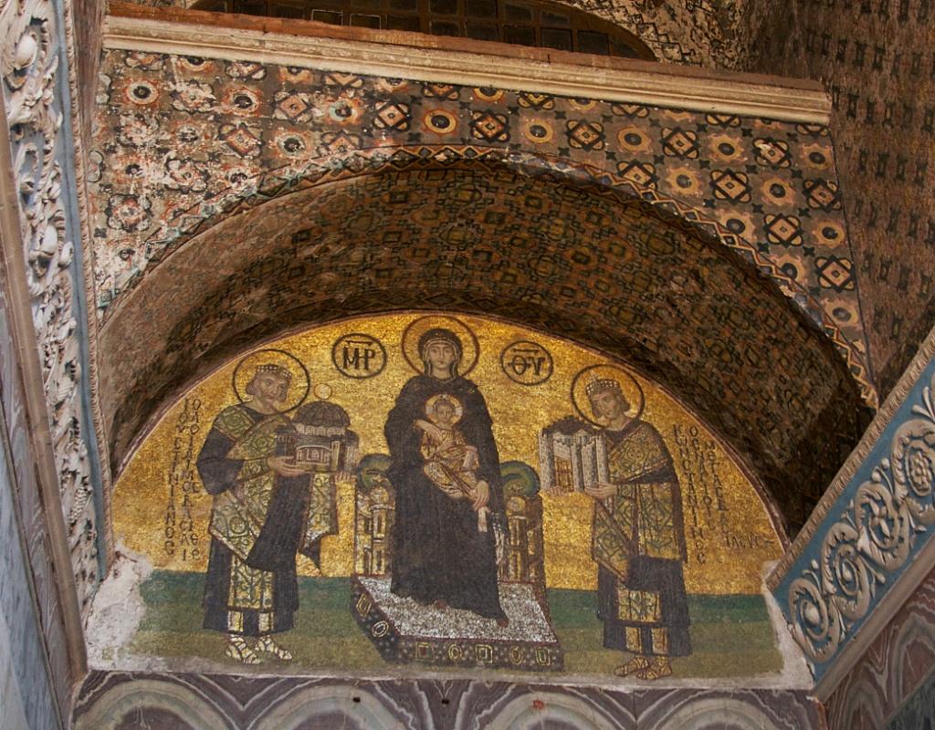Sunu Mosaic Madonna And Child Constantine And Justinian Hagia Sophia Istanbul Turkey