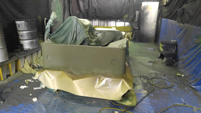 Spraying 1942 Willy in Olive drab