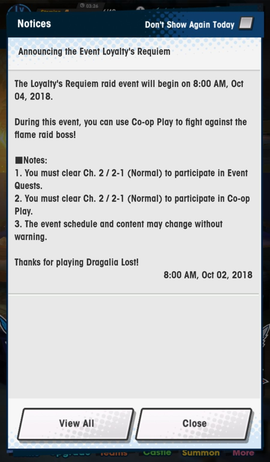 Dragalia Lost Loyalty's Requiem Raid Event