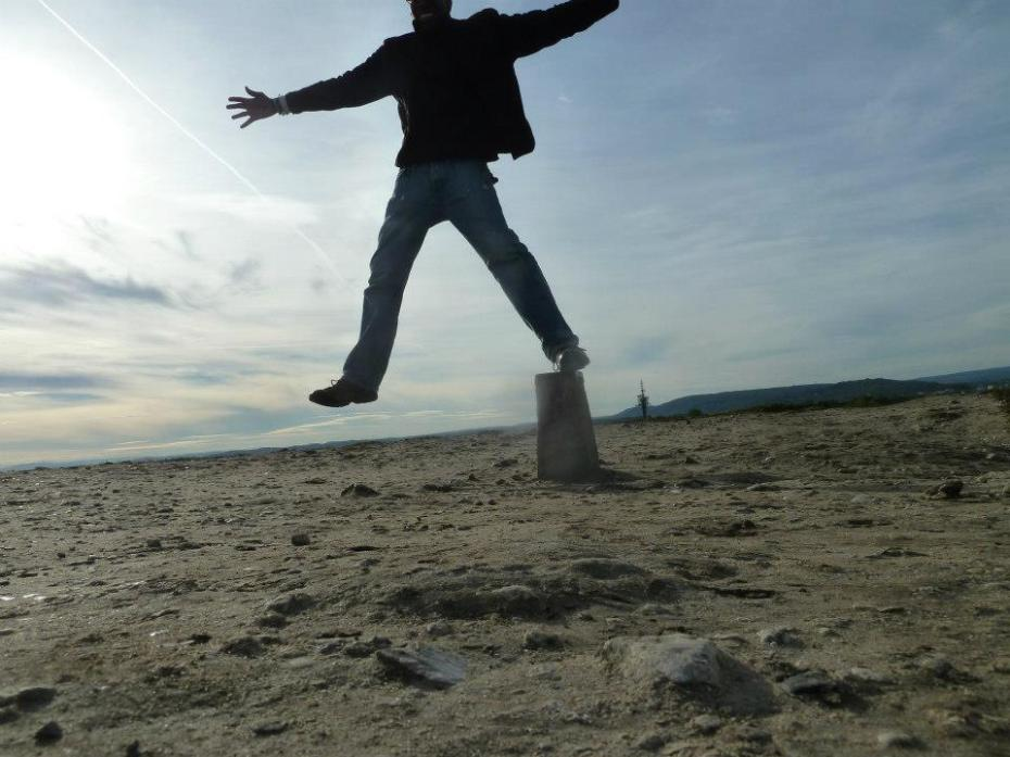 On top of Krakus Mound and on top of the world...but later this day....