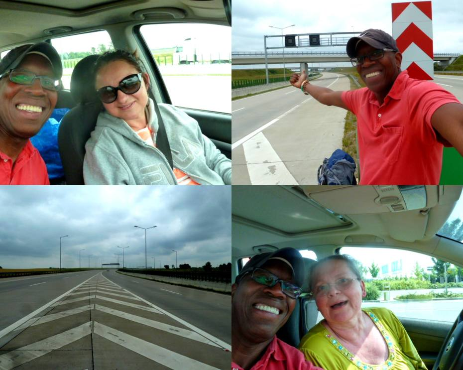 Top left, in Wroclaw, Poland, my first ride on the journey!  She left me on this highway in Germany, where this other woman, bottom right, picked me up and drove me to Dresden, Germany, my first destination. Both women are Polish but the one with the sunglasses lives in Germany and the other in the Czech Republic