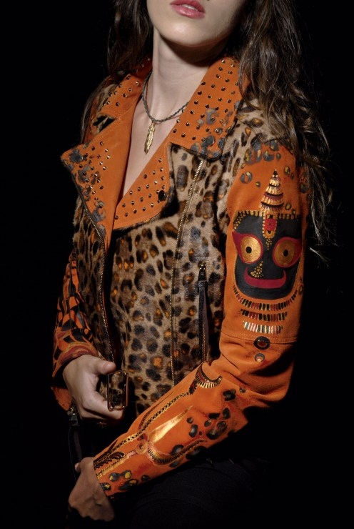""""""" Holi """" 0ne off Hand painted leather jacket by Mike The Athens . 2015"""