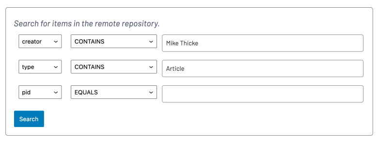 Example form for Fedora Embed block showing three rows of search fields.