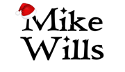 Mike Wills Logo with Santa hat hanging on M
