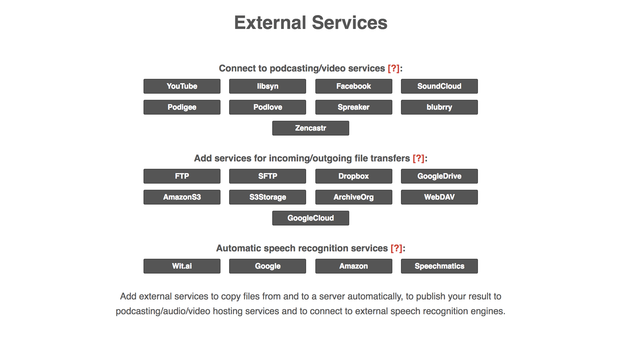 Available External Services