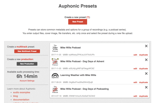 Auphonic Presets