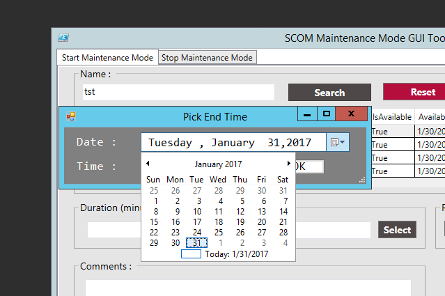 Schedule SCOM Maintenance Mode by PowerShell GUI Tool