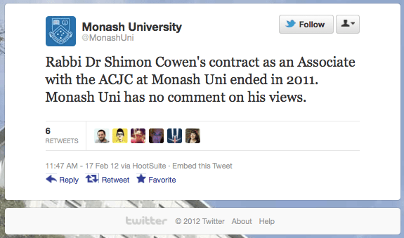 20120217 Monash University tweet on Rabbi Dr Shimon Cowen