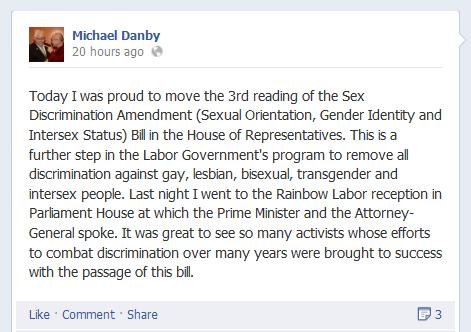 20130530 Michael Danby Facebook post