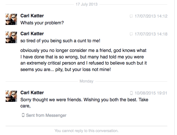 Carl Katter Facebook messages