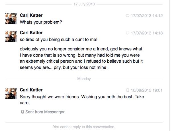 Carl Katter Facebook messages