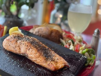 Broiled Salmon on a Cedar Plank with Baked Potato and House Vegetable