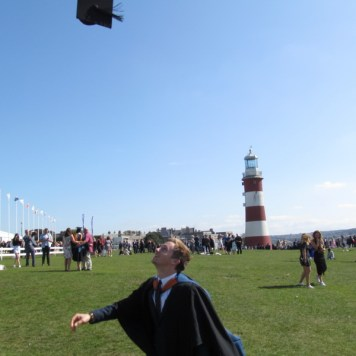 Traditional mortar board throwing