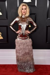Katy Perry in a contrasting two piece consisting of futuristic metallic on top and mystic fur on the bottom, look is complete with bobbed blonde hair and a natural face of make-up - Photo Credit: John Shearer / WireImages (All Rights Reserved)