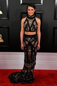 """Lea Michele wearing a mosaic like two-piece with """"matching"""" make-up - Photo Credit: Steve Grantiz / WireImages (All rights reserved)"""