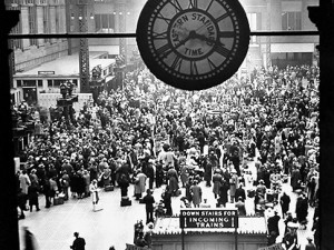 Pennsylvania Station in NYC jammed with people during the Thanksgiving holiday.