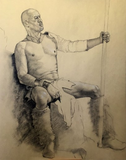 charcoal drawing of male model