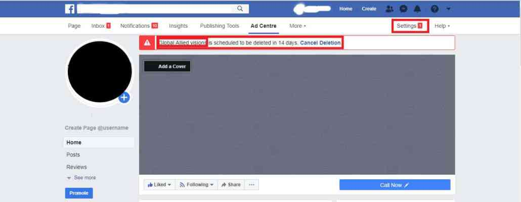 Steps to delete facebook page