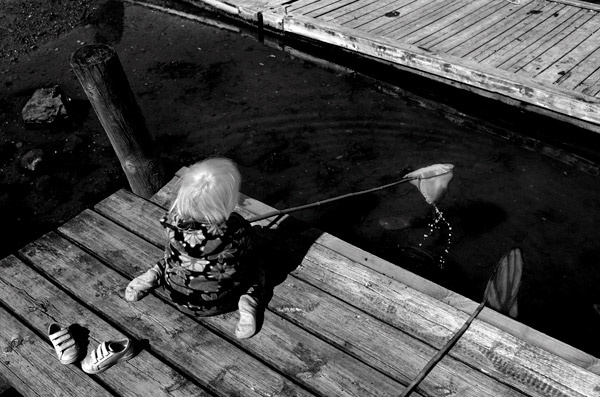 child fishing summer