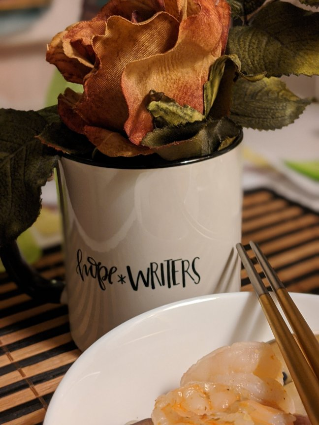 hope*writer mug shrimp golden chopsticks and rose flat lay