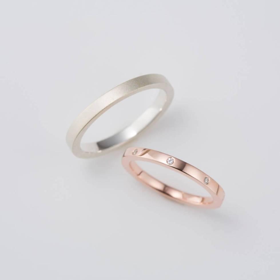 ダイヤモンドをあしらったピンクゴールドの結婚指輪