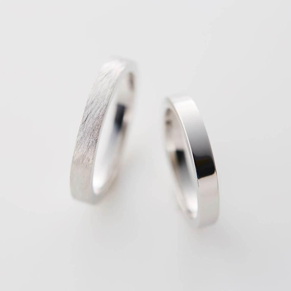 プラチナの平打ち結婚指輪