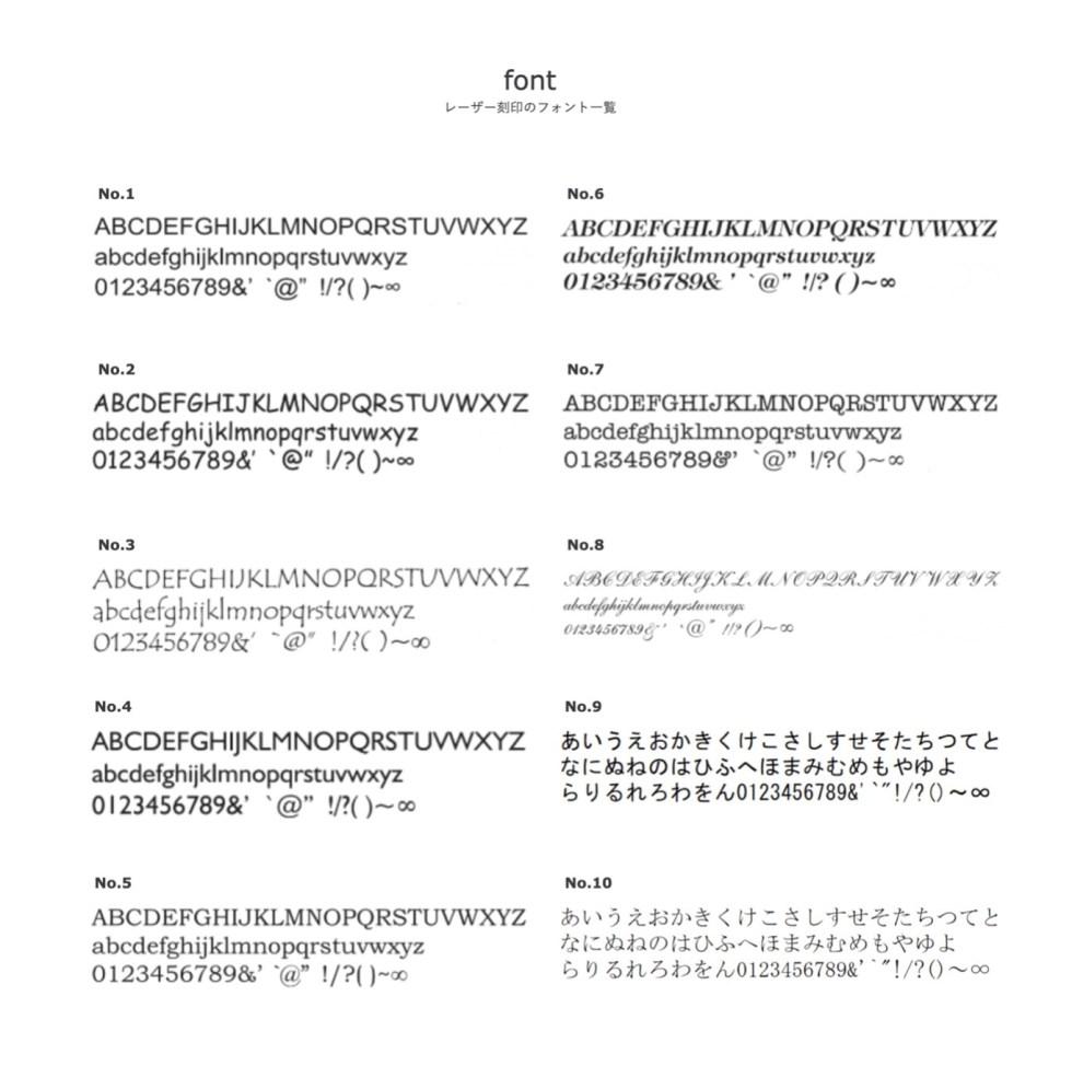 レーザー刻印の文字の一覧