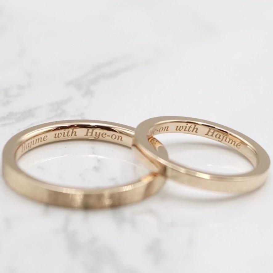 レーザー刻印no6フォントを入れたの結婚指輪