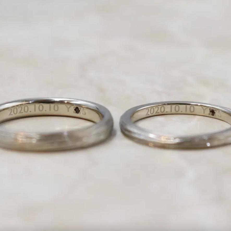 レーザー刻印no4フォントを入れたの結婚指輪