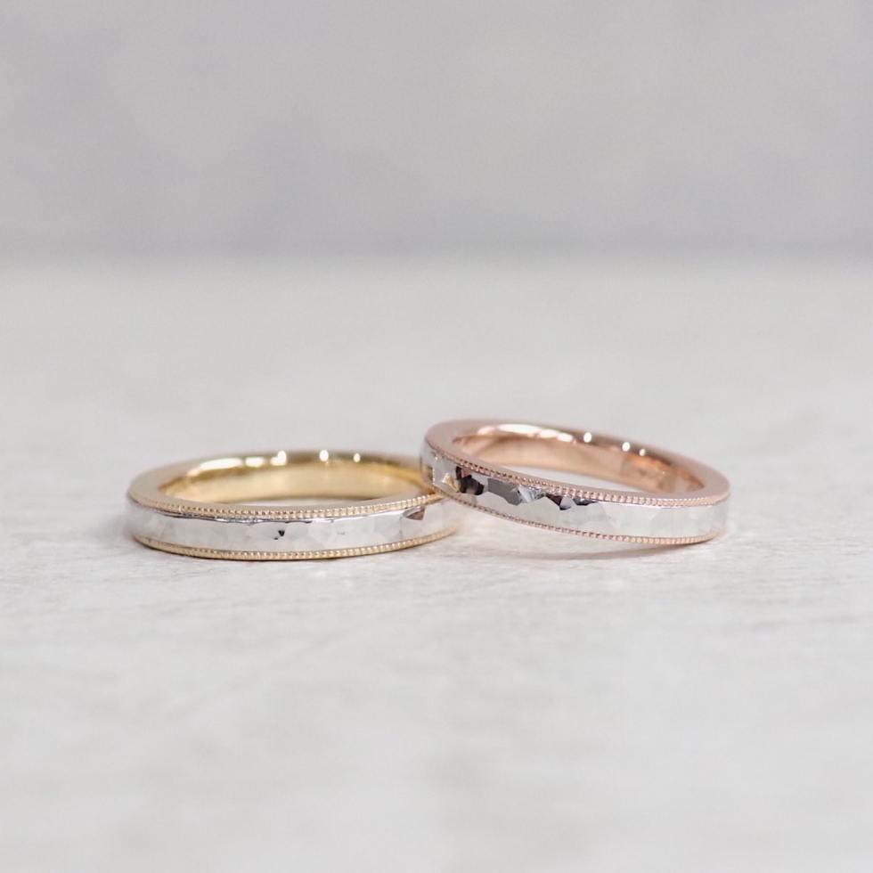 鎚目とミルグレインのコンビネーション結婚指輪
