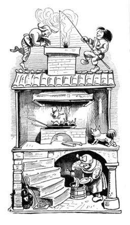 Witwe Bolte am Sauerkrautfass (1865) Quelle: Wilhelm Busch: Max und Moritz (Public Domain)