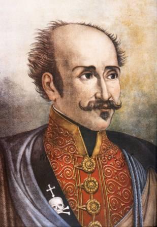 Γκραβούρα που εικονίζει τον Α. Υψηλάντη με τη στολή των «Κοζάκων της Τσαρικής Φρουράς»