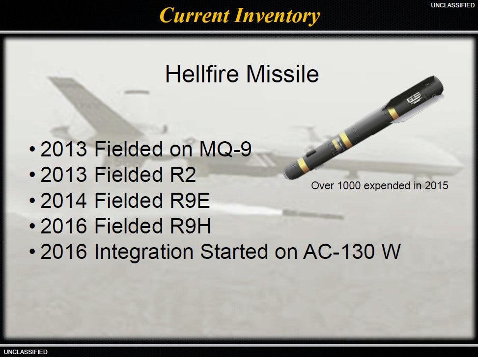 Слайд щодо використання ракет Hellfire Командуванням Спеціальних Операцій США 2016 року